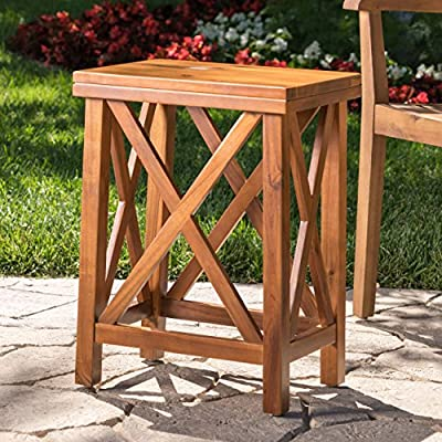 Lucy Outdoor Teak Finished Acacia Wood Side Table - This accent Table is the perfect companion to any set Featuring a natural teak finish for the acacia wood, this Table helps brighten the room when natural light shines through Manufactured in China - patio-tables, patio-furniture, patio - 61OlrF%2BEpYL. SS400  -