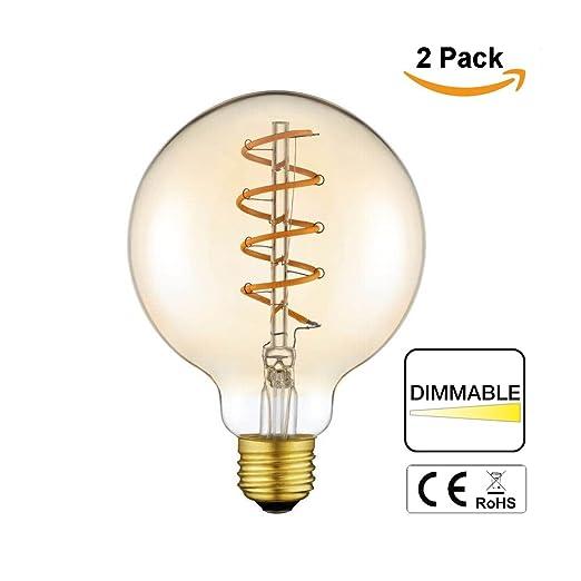 C & J 2 Pack – ámbar bombilla Edison Vintage Bombilla LED espiral G125 bombilla de