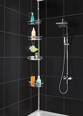 chinkyboo® 4 Tier Telescopic Corner Bath Shower Storage Rack Shelf ...