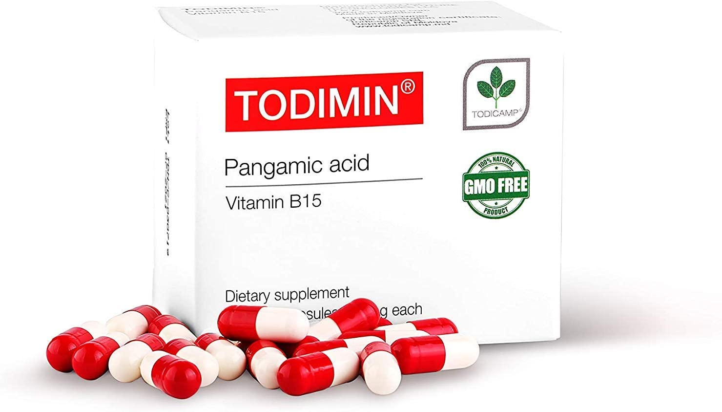 TODIMIN® - Vitamin B-15 – Pangamic Acid 60 Capsules, Brain Function Supplement, Boost Oxygen Levels, Non-GMO, Non-Toxic, Improve Your Focus, Water Soluble