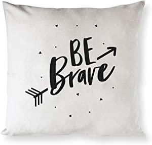 The Cotton & Canvas Co. Be Brave Nursery Pillow Cover, Pillowcase, Cushion Cover and Decorative Throw Pillow Cover for Children, Kids Room, Sofa, Couch (Natural Color, Not White)