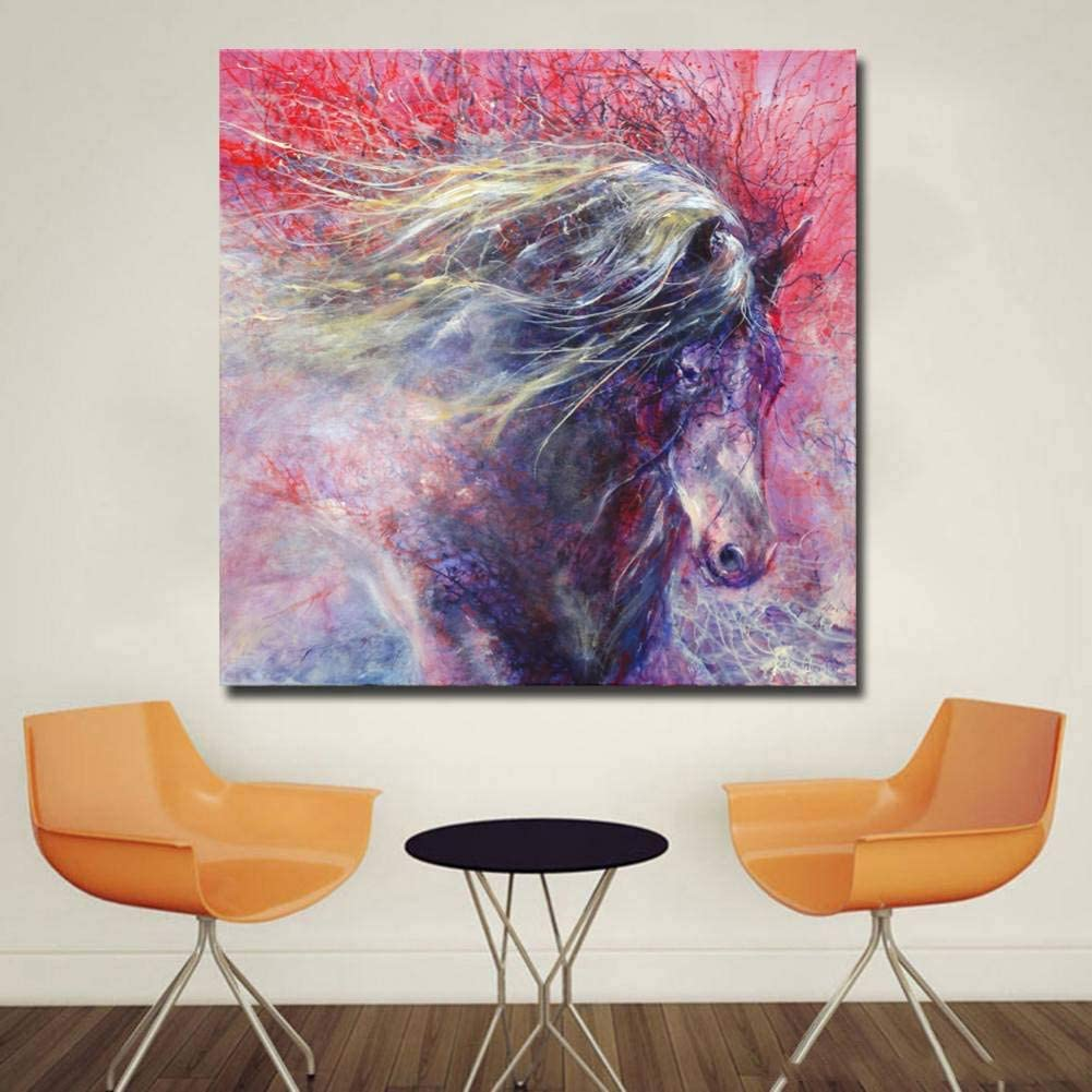 YCOLLC Lienzo de Pintura Lienzo Pintura de la Pared Imprime Color Animal Rojo Pelo Caballos Cuadros de la Pared Decoración Decoración para el hogar Pinturas para Livingom