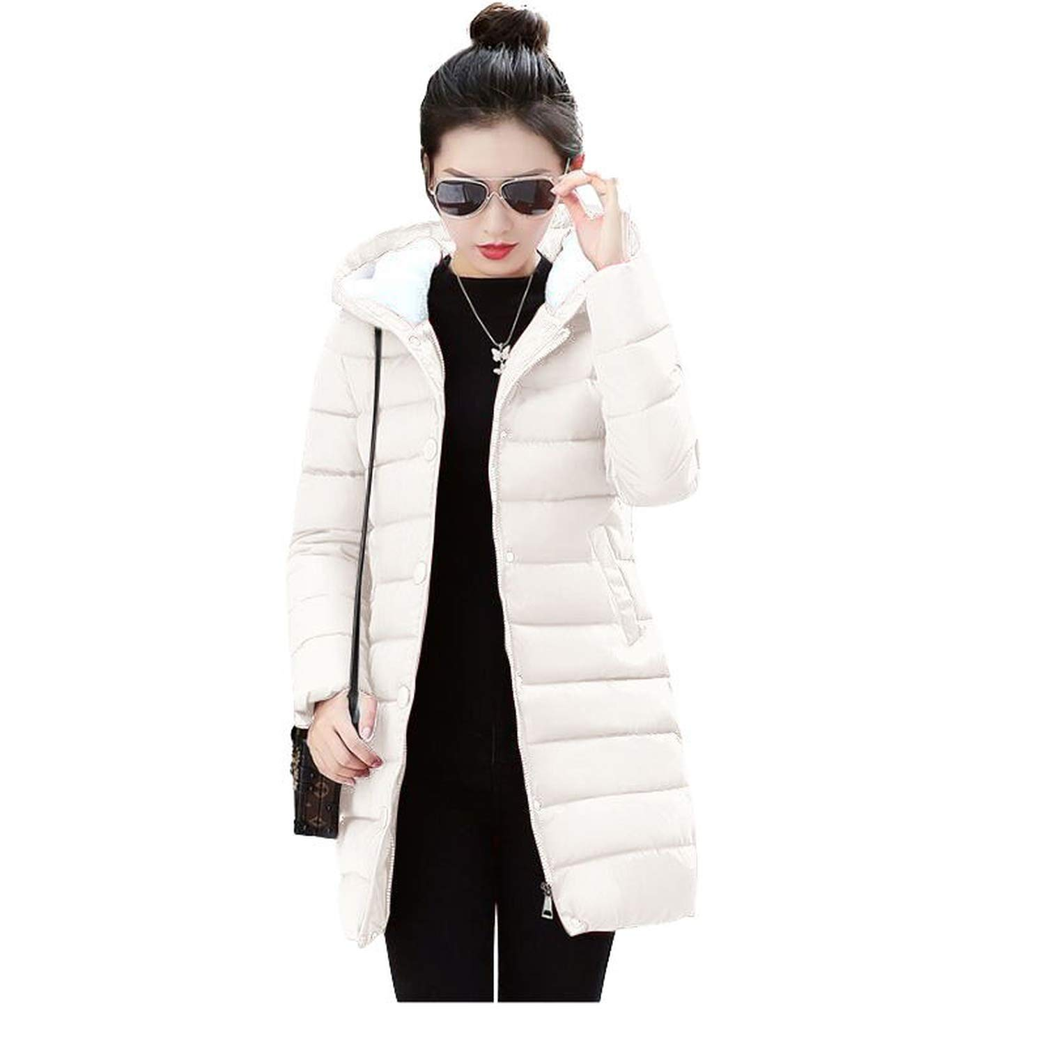Beige Ladies Fashion Coat Winter Jacket Women Outerwear Warm Wadded Jacket Padded Parka