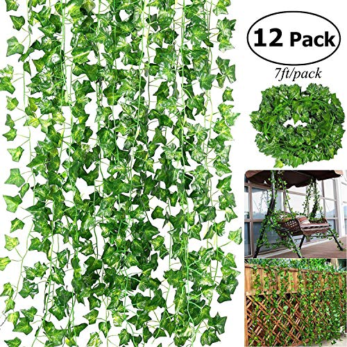 (Outgeek Artificial Ivy, 12 Strands 84 Ft Silk Fake Ivy Leaves Hanging Vine Leaves Garland for Wedding Party Garden Wall)