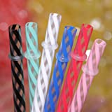 Dakoufish 12 Piece 9 Inch Reusable Plastic Thick Drinking Straws BPA Free Mason Jar Straws transparent small Stripe 6 Colors (mix color)