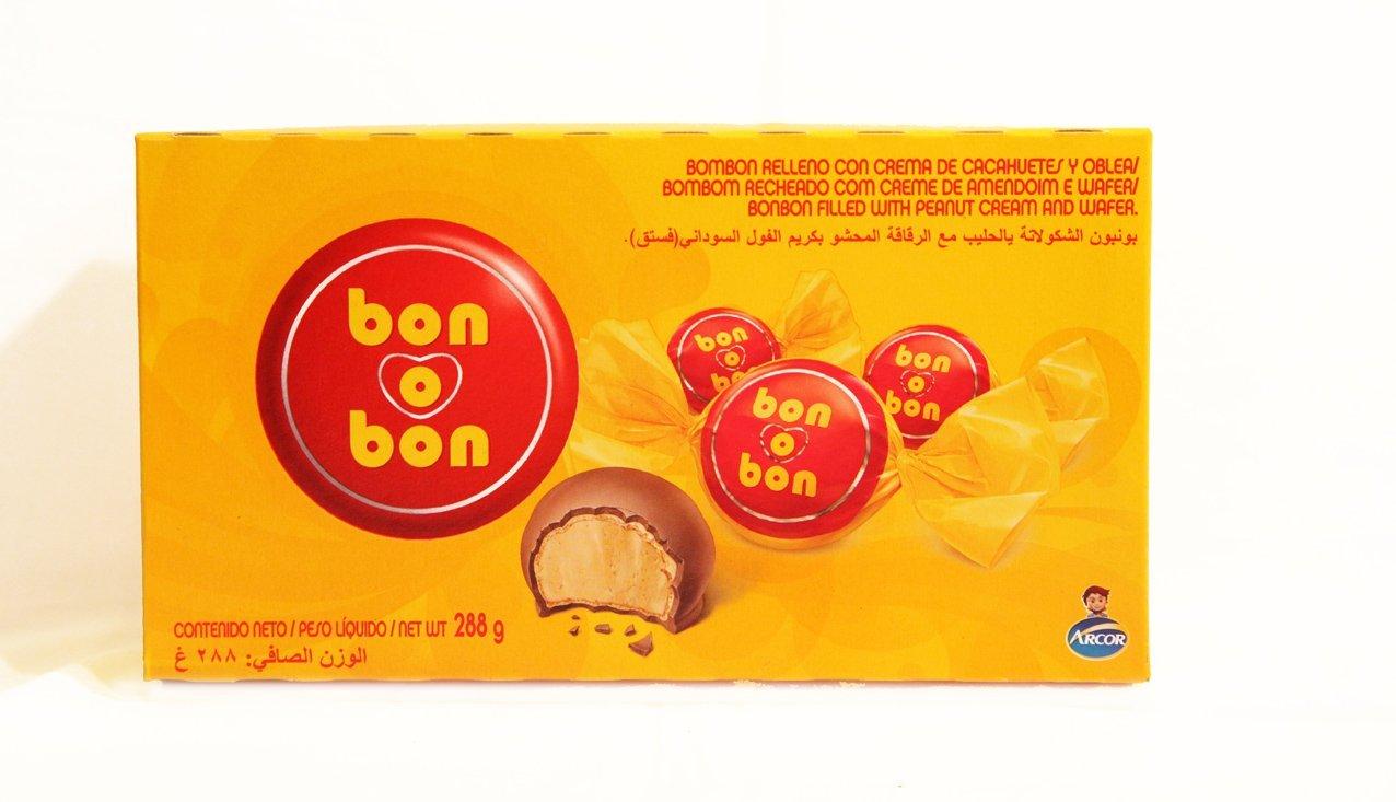 Bon o Bon, Bombón de chocolate con leche y oblea relleno de crema de cacahuete. Caja de 18 unidades.: Amazon.es: Alimentación y bebidas