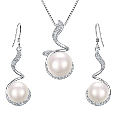 0fee87ff9 Clearine Women's 925 Sterling Silver CZ Ivory Color Freshwater Cultured  Pearl Floral Filigree Pendant Necklace Hook Dangle Earrings Set Clear:  Amazon.co.uk: ...