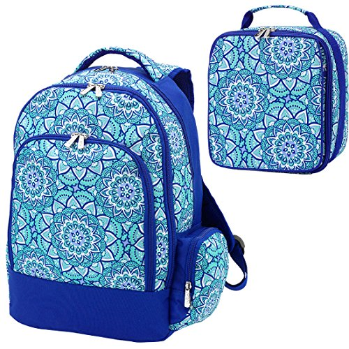 Day Dream Mandala Medallion Blue 2 Piece Polyester Zippered Backpack & Lunch Box Bag Set