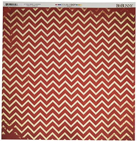 Bo Bunny DD Double Dot Paper 12x12 Chevron Wild Berry