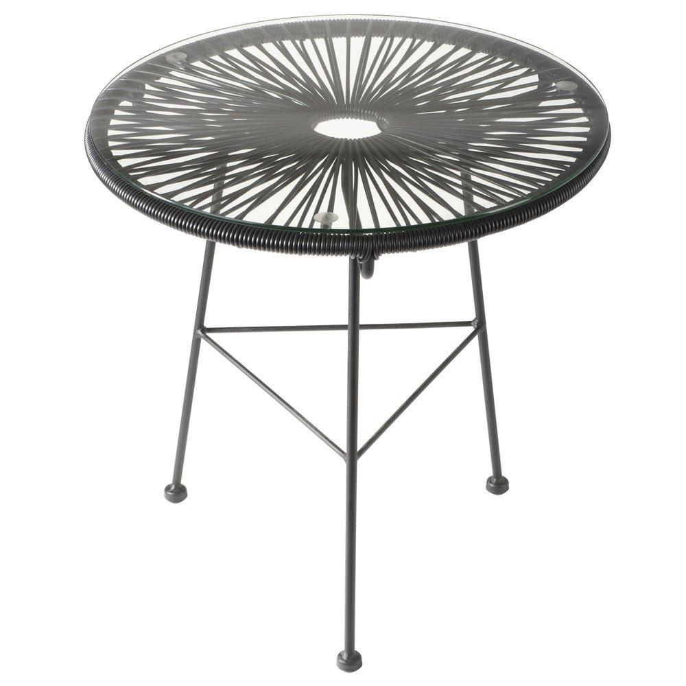 La chaise longue - 32-M1-023N - Table basse Acapulco en acier avec cordage plastique et plateau en verre - Noire LACHH