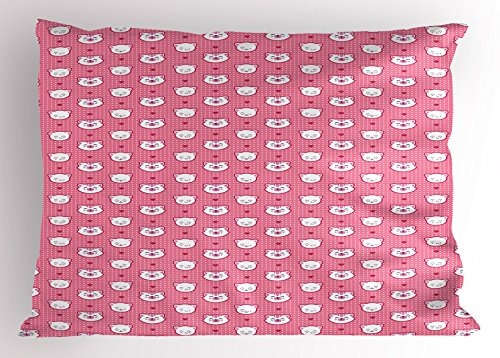 Dot Bedding Furry Pink (Ambesonne Cat Pillow Sham, Adorable Funny Kitten Faces Expressions Smiling Furry Cartoon Characters on Polka Dots, Decorative Standard Queen Size Printed Pillowcase, 30 X 20 Inches, Pink White)