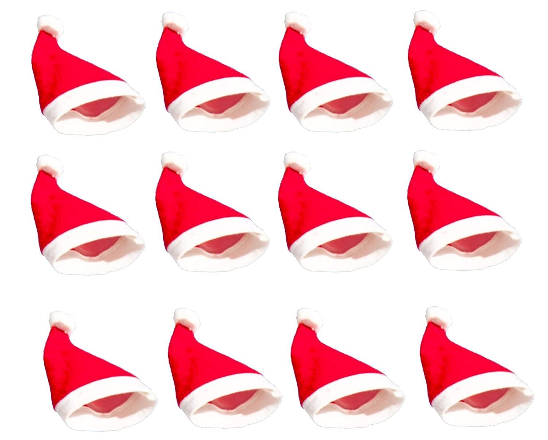 12 Weihnachtsmützen Nikolausmütze Mütze Weihnachtsmann Xmas angenehm für Jugendliche & Erwachsene, eine Größe eine Größe Libetui
