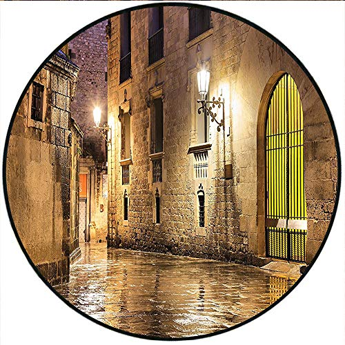 Short Plush Round Rug Collection Gothic Ancient Stone Quarter of Barcelona Spain Renaissance Heritage Gothic Night Street Cream Living Room Coffee Table 55