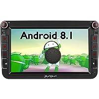 Pumpkin Android 8.1 Autoradio GPS pour VW touran,Polo,Golf, Passat,Caddy, Jetta IPS Ecran Tactile 8 Pouces Supporte Bluetooth WiFi 3G USB SD Commande au Volant RDS Radio OBD2 Dab+