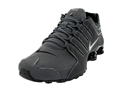 6ac1956b192 Nike Mens Shox NZ Dark Grey Anthracite Black Metallic Iron Leather Running  Shoes