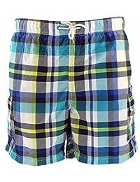 SLGADEN Boys Beach Shorts Cargo Pockets Mesh Lined Grid Beach Swim Trunks 1-7T