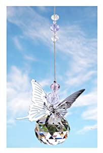 H&D 30 mm Handmade Butterfly Crystal Ball Prism Rainbow Maker Hanging Suncatcher Home Wedding Decoration