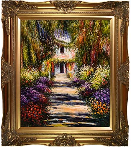 La Pastiche Garden Path at Giverny Minature Art, 9.75 x 9.75 , Multi-Color, Victorian Frame, 32 x 28