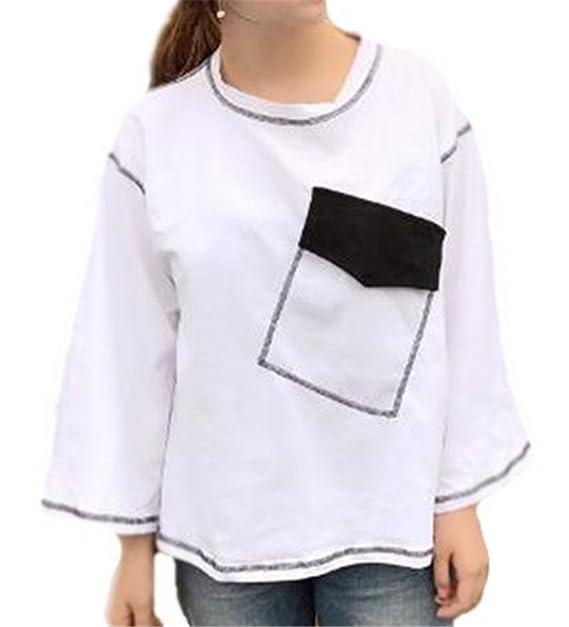 Tayaho Camisa De Manga Larga Mujeres Camisetas Cuello Redondo Ocasionales T Shirt Universidad Bonitas Blusas Camisas Patchwork Corto Tops Clasicos Clasicos: ...