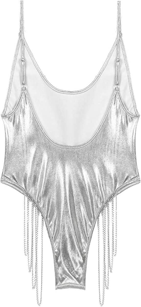 dPois Womens Shiny Metallic One Piece High Cut Thongs Leotard Bodysuits Jumpsuit with Metal Chain