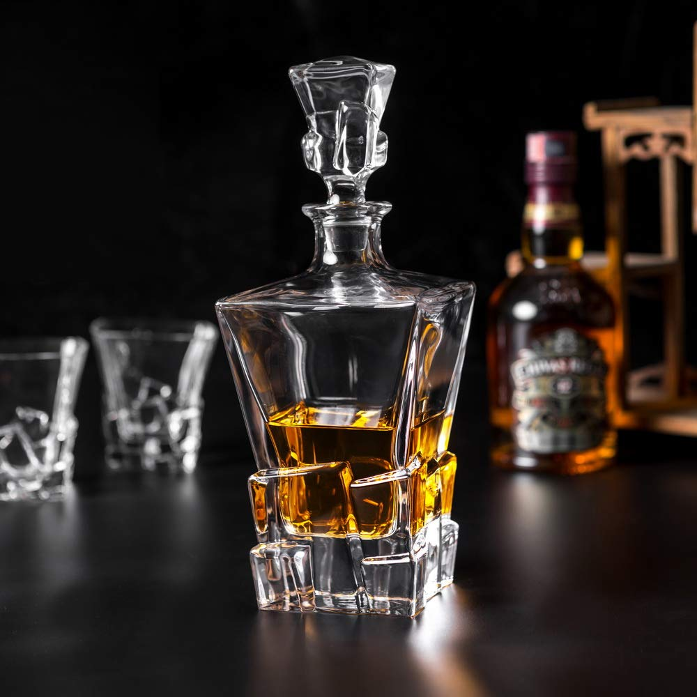 KANARS Iceberg Whiskey Decanter Set With 4 Glasses In Luxury Gift Box - Original Lead Free Crystal Liquor Decanter Set For Scotch or Bourbon, 5-Piece by KANARS (Image #7)