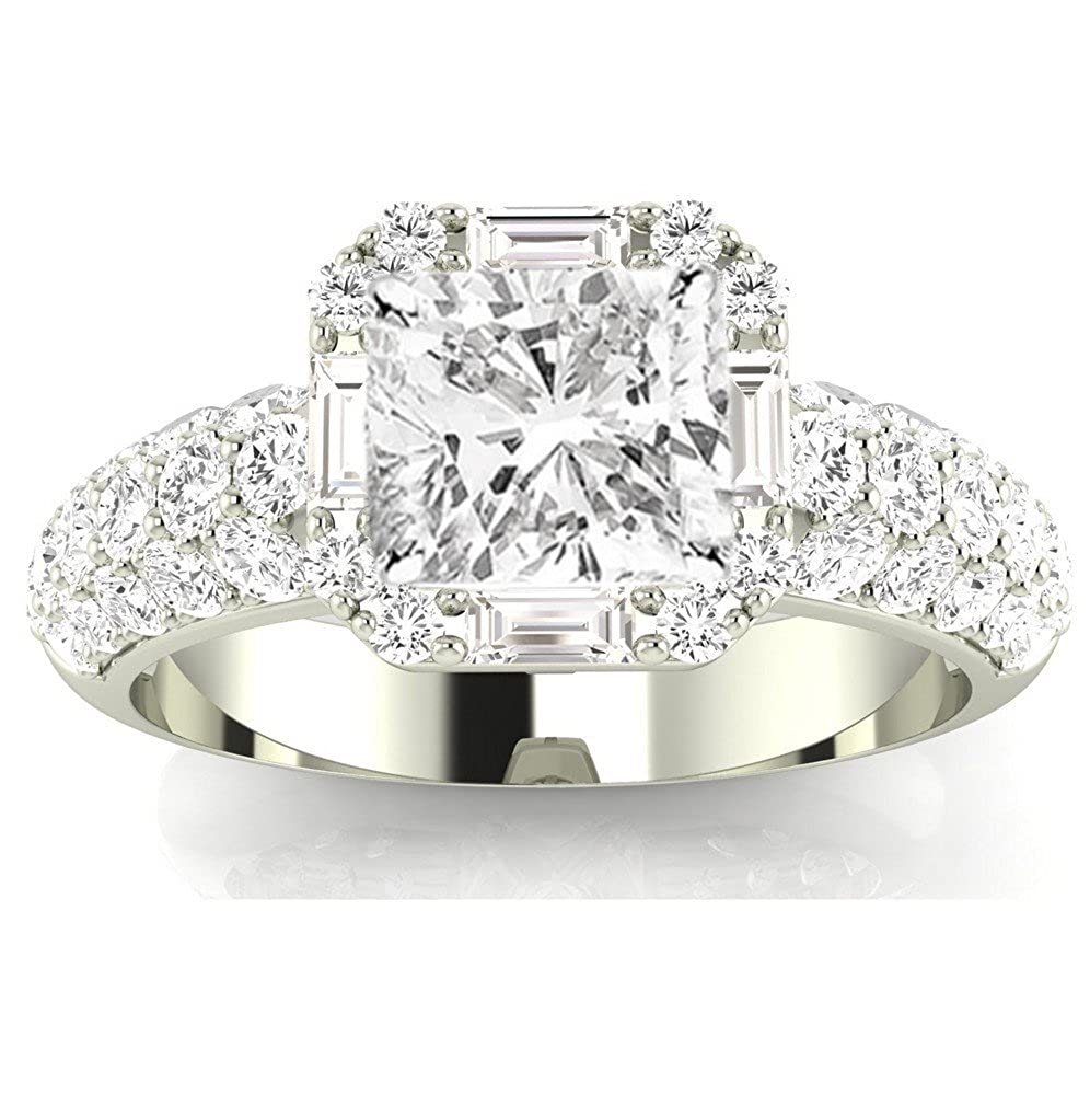 d125902c2 1.76 CTW Designer Popular Halo Style Baguette And Pave Set Round Diamond  Engagement Ring w/ 0.96 Ct GIA Certified Cushion Cut J Color VS1 Clarity  Center