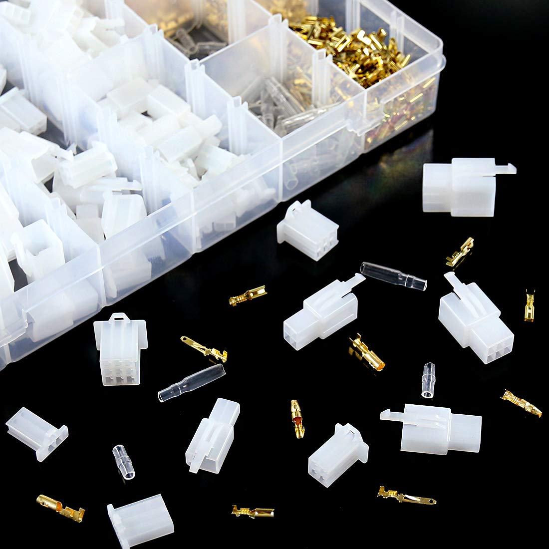 Swpeet 700Pcs Automotive Electrical Wire Connectors Kit 2.8mm 2 3 4 6 9 Pin Automotive Electrical Wire Connectors Pin Header Crimp Wire Terminals and 30 Kits 4mm Car Motorcycle Bullet Terminal Wire