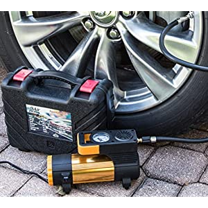 LIMITED TIME SPECIAL! 12V TIRE AIR COMPRESSOR KIT with Advanced Inflator Pump - Car, Truck, Bike, Sports Balls - 2 Connect Options, LED Light, Nozzles, Extra Fuse, Gloves, Carry Case, Ideal for Trunk