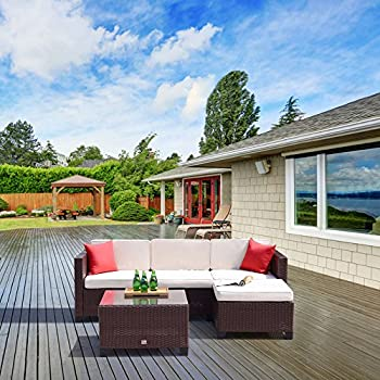 cloud mountain 5pc rattan wicker sofa set cushioned sectional outdoor garden patio furniture cocoa brown