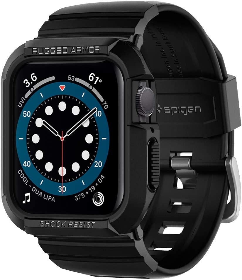 Spigen Rugged Armor Pro Designed for Apple Watch Case 44mm Band with Case Protector for Series 6 /SE/5/4 - Black