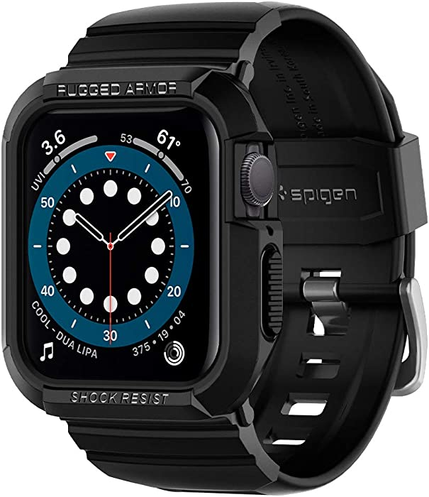 Spigen Rugged Armor Pro Designed for Apple Watch Band with Case for 44mm Series 6/SE/5/4 - Black