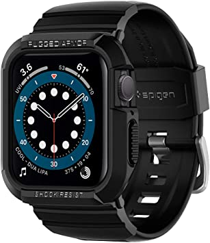 Spigen Rugged Armor Pro Designed for Apple Watch 44mm Band with Case Protector for Series 6 /SE/5/4 - Black