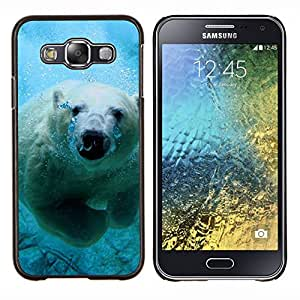 Qstar Arte & diseño plástico duro Fundas Cover Cubre Hard Case Cover para Samsung Galaxy E5 E500 (Natación linda del oso polar)