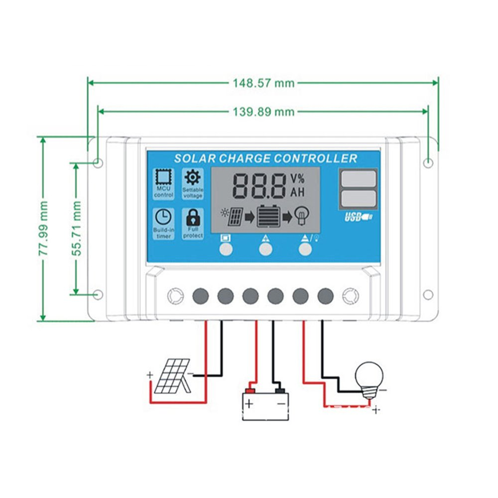 Nrpfell 20A 12V 24V Auto Work PWM Solar Charge Controller with LCD Dual USB 5V Output Solar Cell Panel Charger Regulato