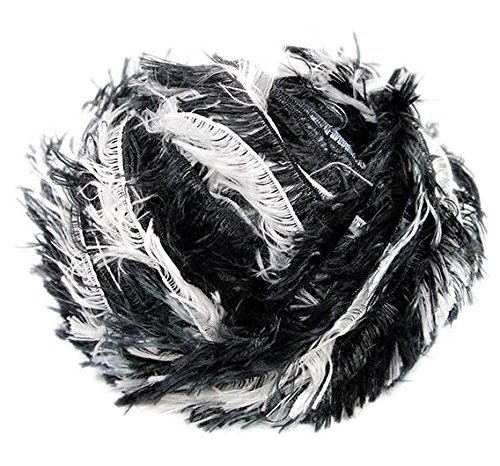 (Crystal Palace Splash #9412 Newsprint - Black and White Feather Boa Short Eyelash Yarn 100 gram 85 Yards)
