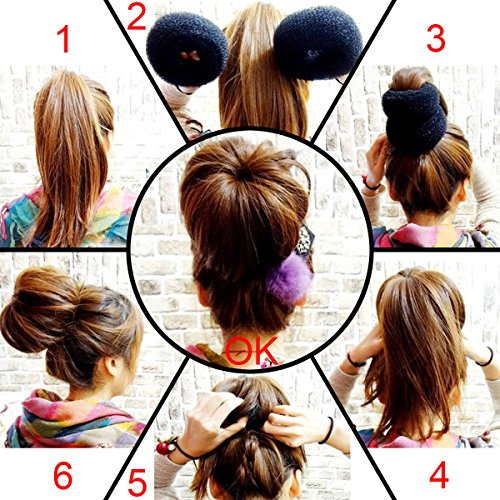 (QY Extra Large Size Hair Mesh Chignon Donut To Make The Largest The Most Round Shape Doughnuts Hair Bun For Long Thick Hair, Brown)