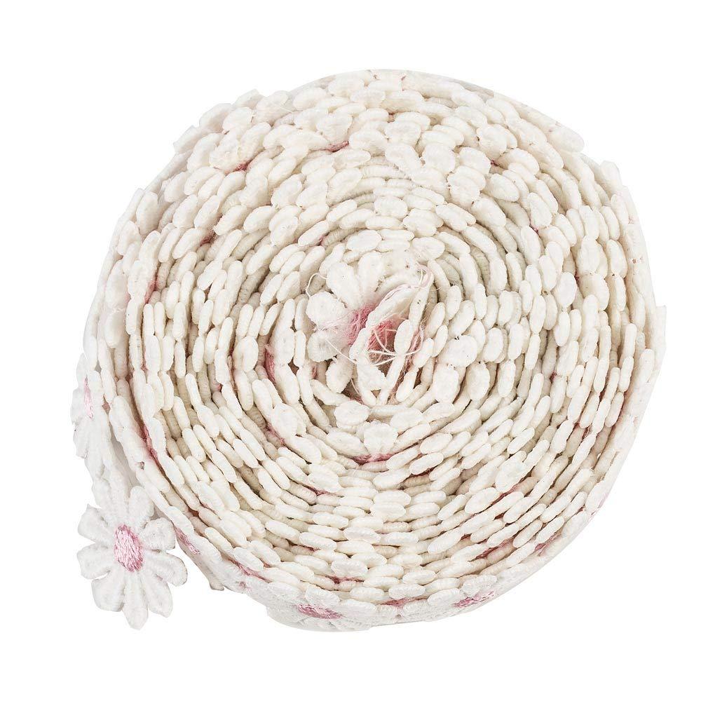 13,7/m bianco e rosa fiore fai da te pizzo applique cucito Craft Lace Edge Trim nastro bordo tessuto passamaneria ricamo poliestere per abiti da sposa abbellimento fai da te Decorazione festa vestiti