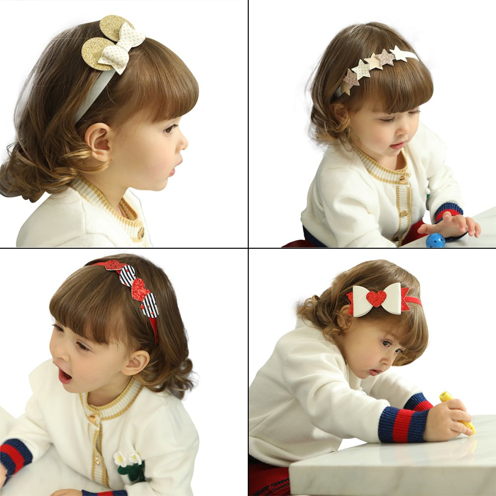 COUXILY Baby's Headband with Grosgrain Ribbon Faux Leather Bows for Party Photograph(PU02)