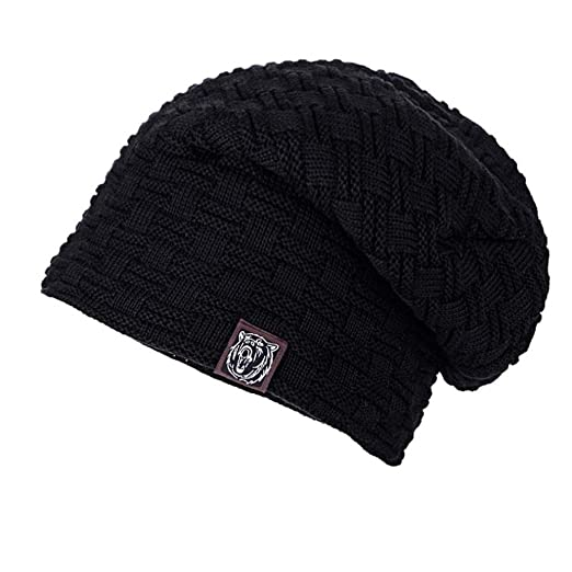 Fullfun Cable Knit Slouchy Beanie Hat for Men and Women Winter Warm Hat ( Black) 2ab4e5948f1