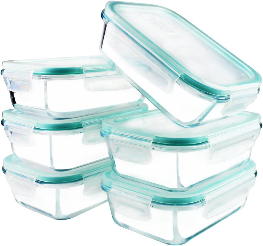 YEBODA Glass Food Storage Containers with Airtight Snap Locking Lids BPA Free Meal Prep Container Set For Home Kitchen Restaurant - Freezer, Microwave, Oven, Dishwasher Safe [23oz, 6 Pack]