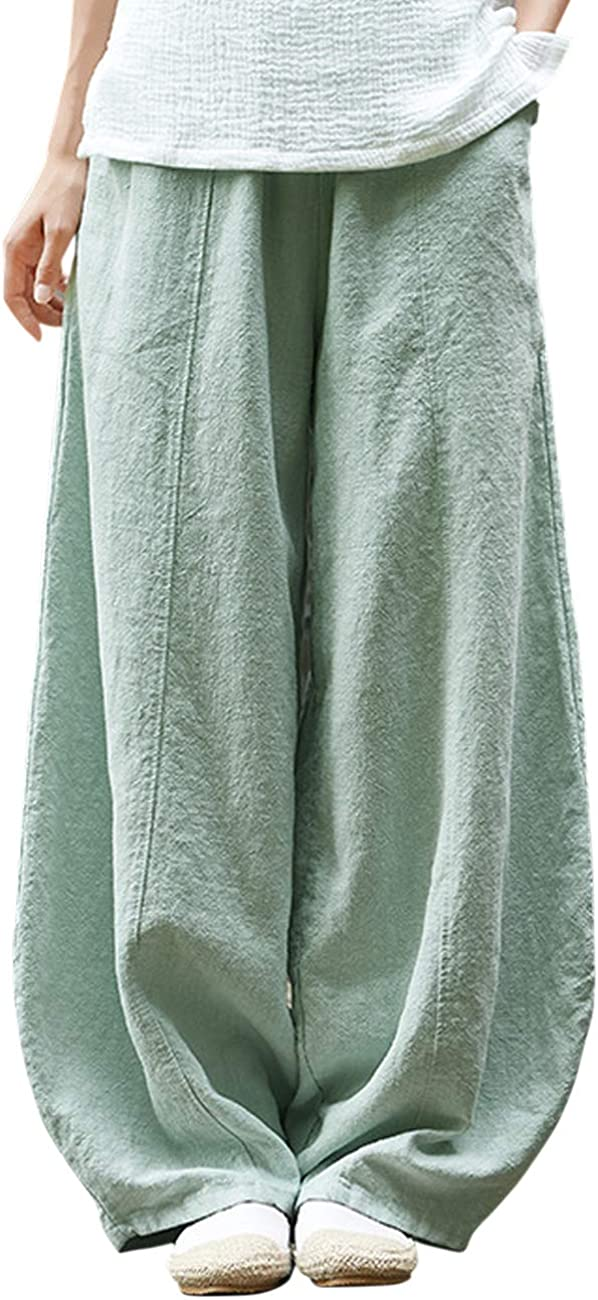 IXIMO Women's Casual Cotton Linen Baggy Pants with Elastic Waist Relax Fit Lantern Trousers