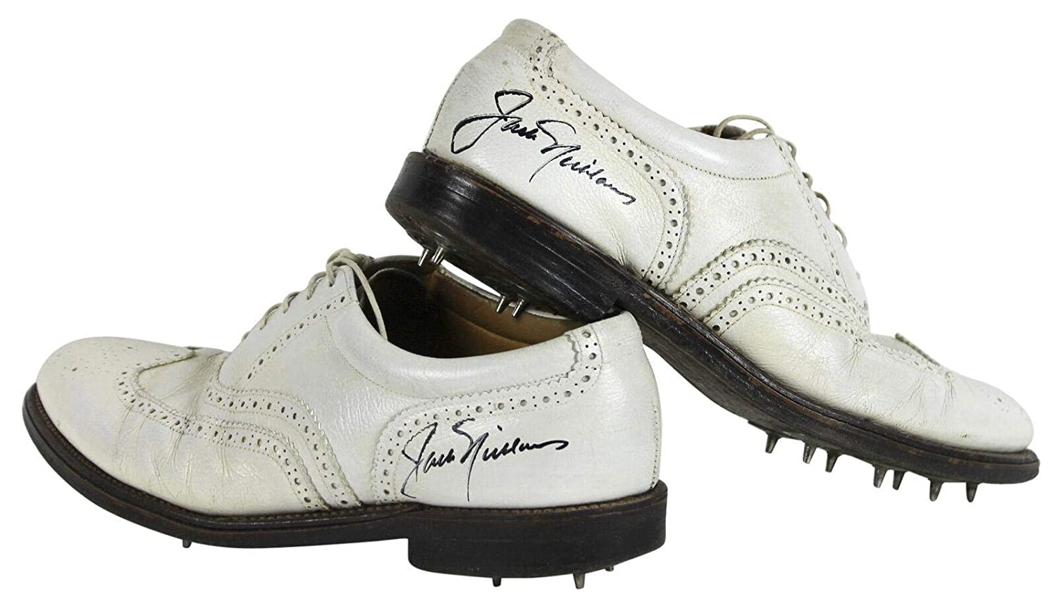 Jack Nicklaus Signed 1986 Masters Worn Golf Spikes #AB09370 - PSA/DNA Certified - Autographed Golf Shoes