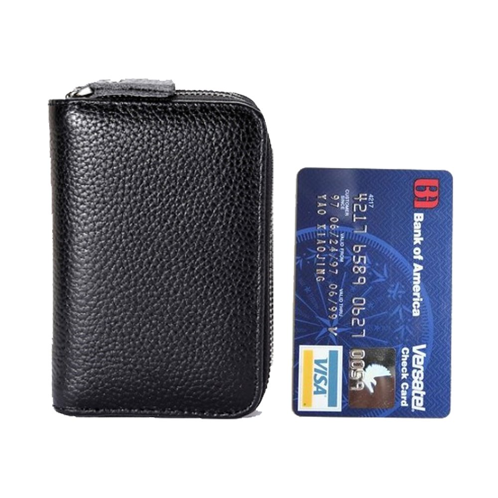 women's Genuine Leather Wallets double Zipper Credit Card slots ladies black purse With 12 Card Slots -Mother's Day gift… (Black) by DIFFERENT (Image #5)