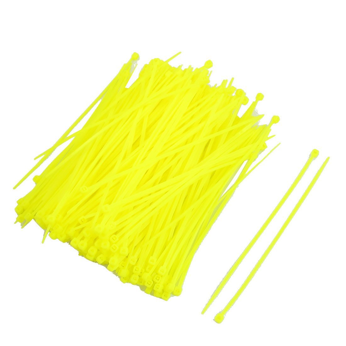 Uxcell Nylon Adjustable Locked Cable Zip Tie 2.5 x 150 mm Light Yellow 300 Piece