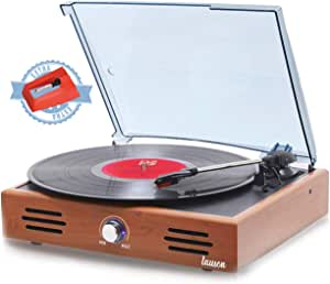 Lauson JTF535 Record Player, Turntable USB for Vinyl Records 3 Speed, Belt Driven Vintage Record Player Vinyl-to-MP3, Stereo Built in Speakers, Lp Phonograph, RCA Output, Natural Wood Effect (Oak)