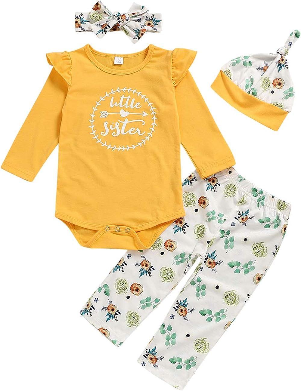 Xuefoo Infant Baby Girl Clothes Mameluco de Manga Larga Mono con Volantes Body Pantalones Florales Conjuntos con Diadema 3 Piezas Conjuntos