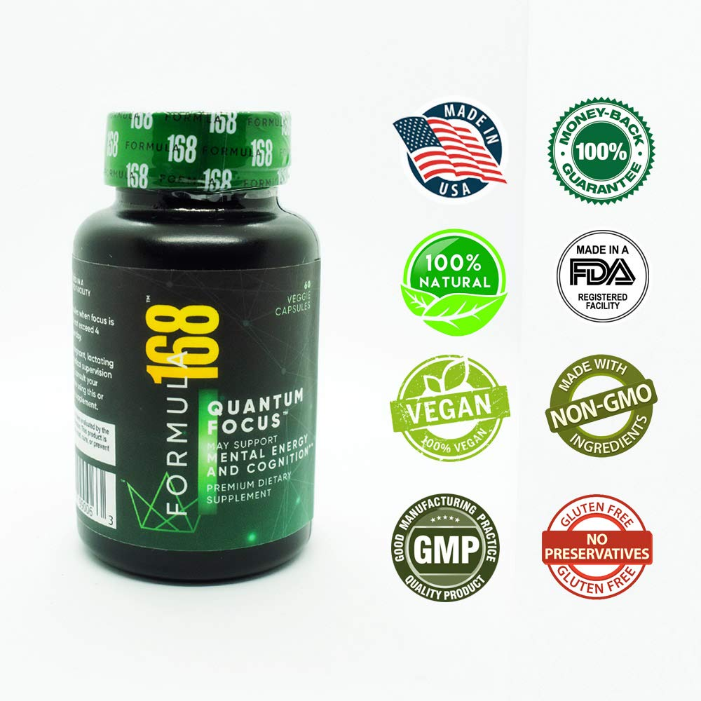 Memory and Focus Booster by Formula168 + Ginkgo Biloba + Nootropic + Mental Clarity + Focus + Cognitive Function + Memory, and Concentration
