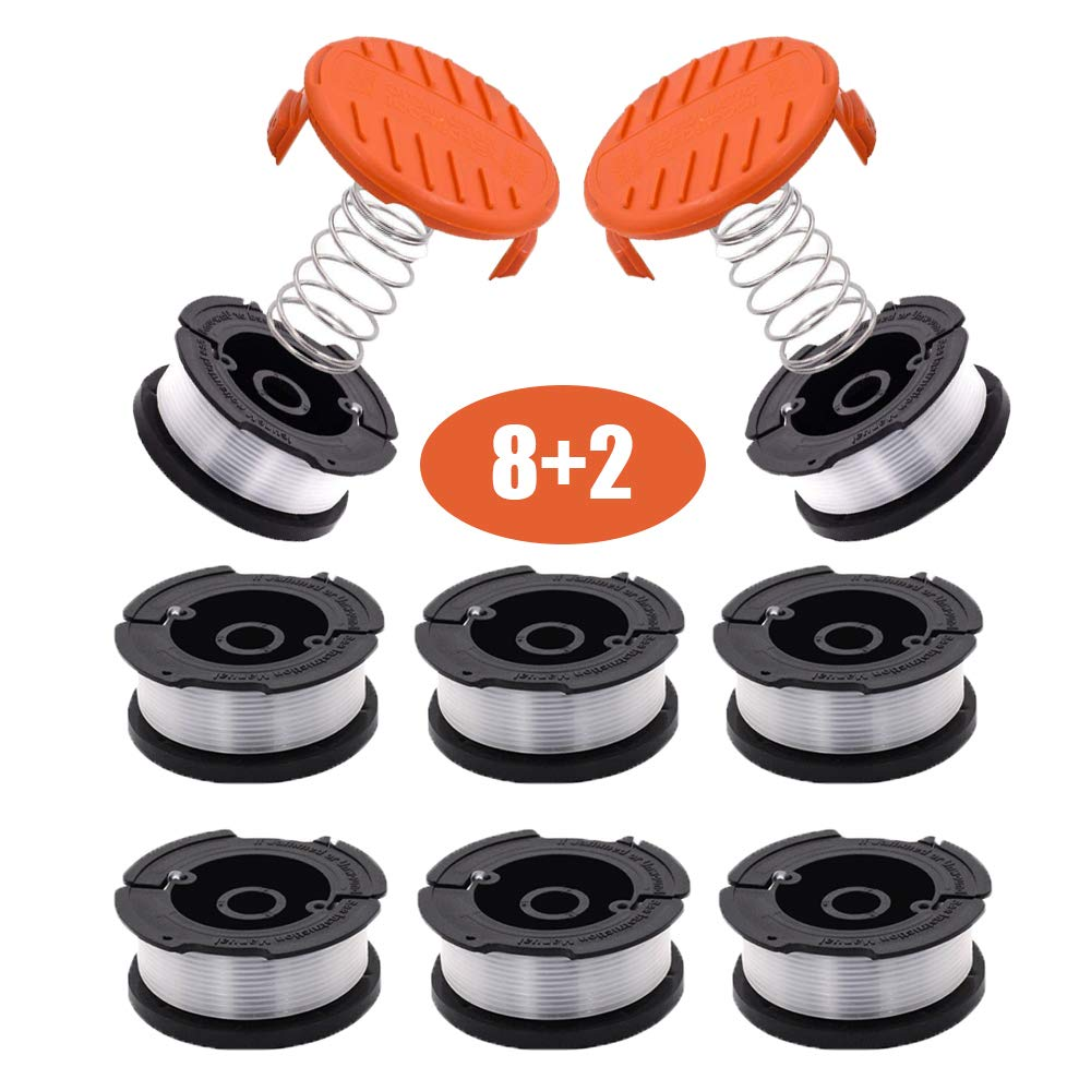 Yesjoy Trimmer Replacement Autofeed Trimmer Spool Line 30ft 0.065'' String Trimmer Replacement Spool for Black+Decker String Trimmers(8 Line Spool, 2 Caps)
