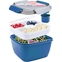 Shopwithgreen 52 OZ to Go Salad Container Lunch Container, BPA-Free, 3-Compartment for Salad Toppings and Snacks, Salad…