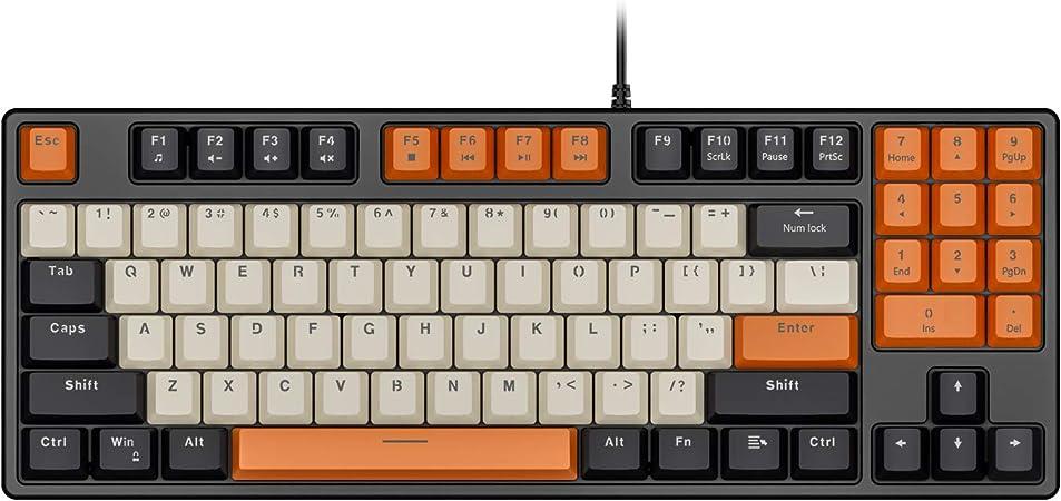 Havit Teclado mecánico con cable de 89 teclas para videojuegos, teclado rojo con teclas PBT para PC Gamer Ordenador Portátil